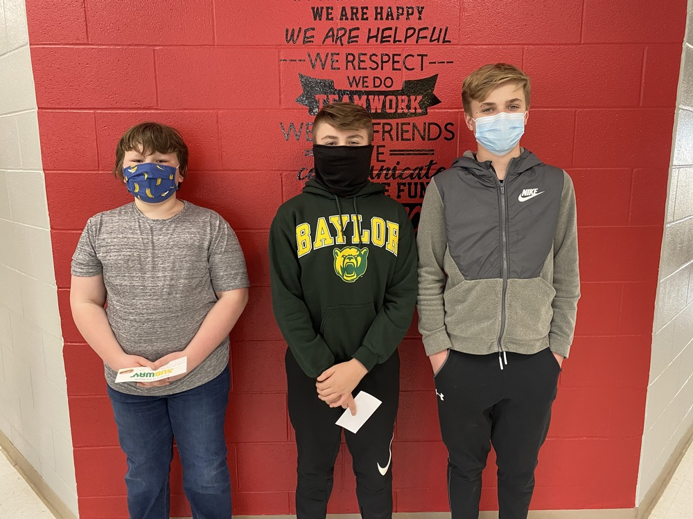 GCMS Middle School January Students of the Month - January 2021