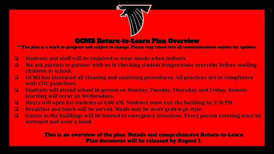 GCMS Return-to-Learn Plan Overview