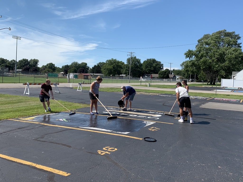The Class of 2021 is getting ready! This crew is blacktopping over the parking spots so our seniors have a fresh canvas next month!